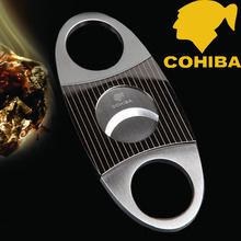 COHIBA Zebra-stripe Pattern Cigar Cutter Stainless Steel Thick Cigar Use Sharp Cigar Cutter(China)