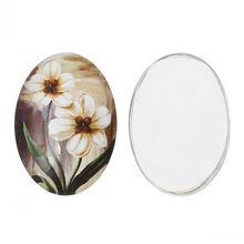 DoreenBeads Glass Dome Cabochon Oval Flatback White Coffee Flower Pattern 25mm x 18mm,20PCs from yiwu