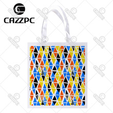 Colorful Hand Painted Diamond Geometric Shapes Print Custom Non-Woven Fabric Reausble Grocery Shipping Storage bag Pack of 4