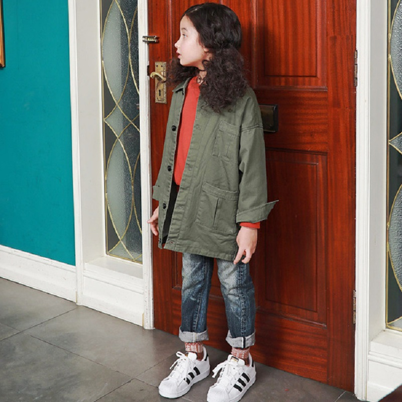 New 2017 Winter Girls Thicken Coat Boys Jackets Children Long Style Coat Toddler Army Green Outercoat Baby Coat,3-14Y,#2335<br>