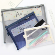 High Quality Transparent Cloth Mesh File Folder Document Stationery Organizer Portable File Bag with Zipper Office Supplies