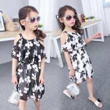 Girl Summer New Product Dress Children's Garment Camisole Chiffon Princess Hot Kids Clothing Printing(China)