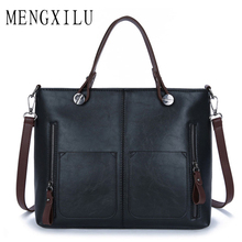 MENGXILU Vintage Leather Women Bags For Women Shoulder Bag 2017 Luxury Multi Pockets High Quality Tote Bags Sac Spanish Brand(China)