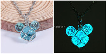 Good quality-noctilucent  ray luminous necklace cartoon image pendant knit necklace factory price party chain kids gift