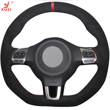 XUJI Black Suede DIY Hand-stitched Car Steering Wheel Cover for Volkswagen Golf 6 GTI MK6 VW Polo GTI Scirocco R Passat CC R-Lin(China)
