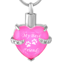 "CMJ9790"" My Best Friend ""316L Stainless Steel Heart Crystal Necklace  Cremation Pendant Necklace Ashes /Perfume Holder Women Men"