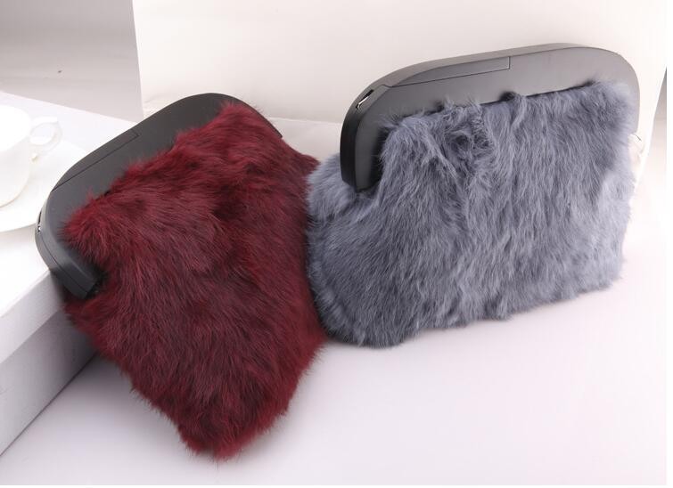 2017 new arrival womens rabbit fur day clutch bag small flap bag real fur<br>
