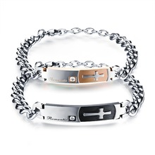 Fashion Jewelry Accessoriest Inlaid CZ Diamond Stainless Steel Cross Design Couple Bracelet Man Woman Bangle Lovers'  Gift GS794