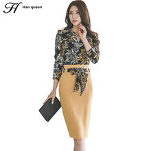 H Han Queen Autumn Winter Women's Suit Long Sleeve Print Crop Top And Skirt Korean Fashion Sexy Casual Work 2 Piece Set Women(China)