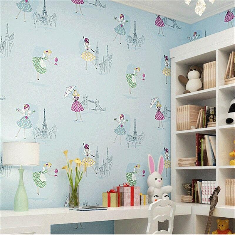 beibehang Cartoon ballet dancing girl Princess Room wallpaper warm bedroom pink non woven childrens room wallpaper<br>