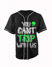 Real American Size Alien Drugs 3D Sublimation Print Custom made Button up baseball jersey plus size
