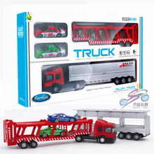 1SET Alloy Sliding Removable Container Truck Transport Car Toys Set With 2 Racing