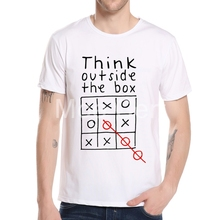 Try thinking outside the box T Shirt Funny Game Fashion T-shirt Men 3d Letter Design Top Tee Casual Short Sleeve Boy Tee L8-A-43(China)