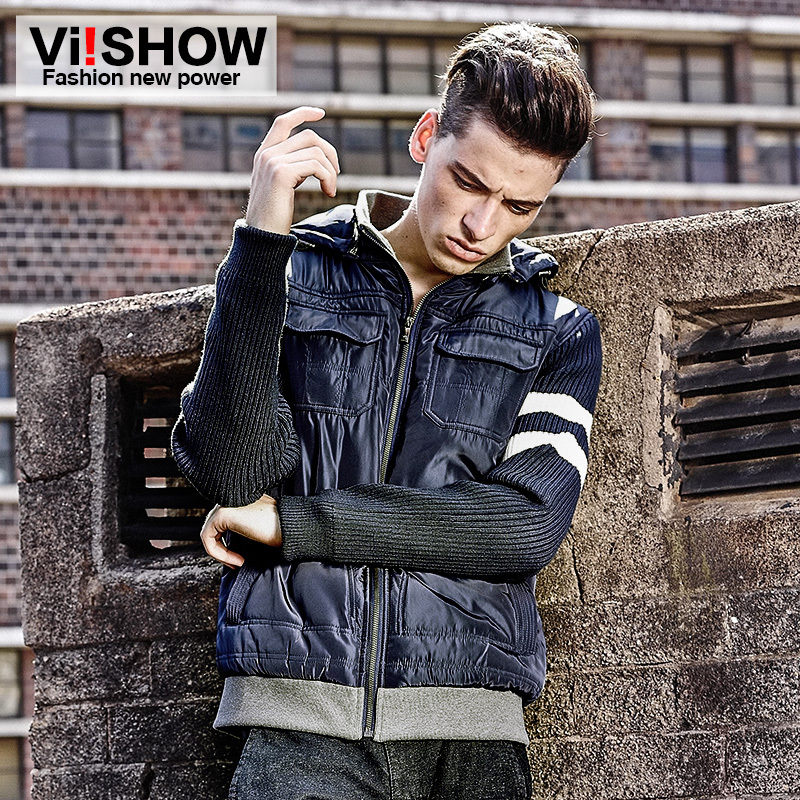 Mens Winter Hooded High Zipper Navy Blue Wind Coat Mens Wear Breathing Cloth Male Casual Cotton-Padded Jacket MC09246Одежда и ак�е��уары<br><br><br>Aliexpress