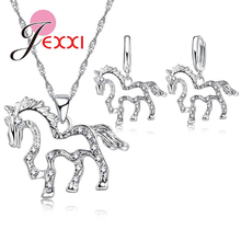 PATICO Cute Hollow Horse CZ Crystal Pendant 925 Sterling Silver Jewelry Sets for Women Girls Wedding Necklace Earrings