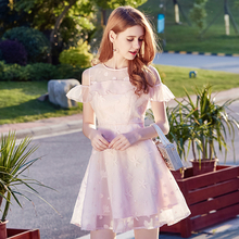 2017 brand women's clothing, summer new Eugen, embroidered yarn, fluffy , round neck, sweet pink dress68326(China)