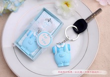 FREE SHIPPING by DHL,FEDEX,UPS(50pcs/Lot)+Baby Boy Birthday Souvenir Blue Clothes Design Keychain Party Givaway For Guest