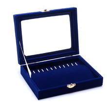 Necklace Set Wood Blue velvet Necklaces Display Tray Accessories Rack Jewelry Box Necklace Storage Organizers Box Case Holder