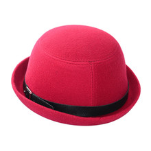Vintage Women Wide Brim Ribbon Seaside shade Wool Blend Felt Hat Bowler Fedora Caps Bonito(China)
