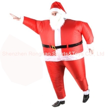 Inflatable Christams Santa Claus Club Suit Costume With Beard And Hat