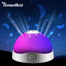 LemonBest RGB Night Light Star Projection Lamp led Baby Light Time Display 10s Children bedroom Table Lamp needs AAA Battery(China)