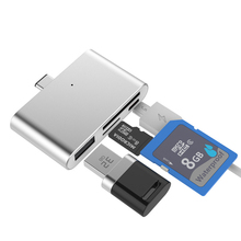 High Quality 4 in 1 Card Reader USB Type C Combo to 2 Slot TF SD Card Usb 3.0 Hub OTG Card Reader