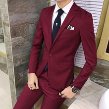 ( Jackets + Pants ) High-end Bridegroom's Man Fashion Boutique Cotton Pure Color Men's Formal Wedding Dress Suits Businss Blazer
