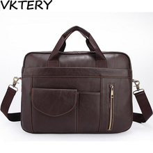 Genuine Leather Men Briefcases Handbag Document Brown Business Office Laptop Bag Leather Brief Cases Male Work Bag Attache Case(China)