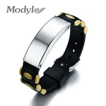 Modyle Stainless Steel ID Bracelet Unisex Identification Wristband Silicone Adjustable Length Watch Band Buckle(China)
