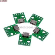 5Pcs New Micro Female USB To DIP Adapter Converter 2.54mm PCB Board Power #H029#