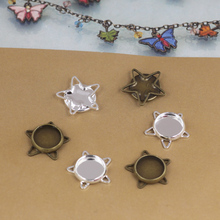 Inner:10mm 40pcs/Bag Antique Bronze/Silver Color Blank Pendant Trays Hanger,Base Setting Zakka Glass Cabochons(China)