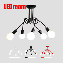 LEDream Creative Black & white 5 holders E27 with bulbs ceiling lamp vintage personality modern brief led ceiling light