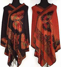 Red/Black/Purple/Blue New Style Women Double Side Butterfly Silk Pashmina Scarf Wrap Shawl(China)