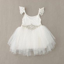 New Kids Baby Dresses with Diamond Belt White Tulle Lace Beading Princess Children Dress For Wedding Birthday 1-6Y
