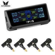 Car TPMS Tire Pressure Monitoring System With 4 Internal Sensor Solar Charge LCD Tire Pressure Display Monitor Support Bar/PSI(China)