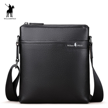 WILLIAMPOLO 2017 Genuine Leather Man Bag Crossbody Bag Business Bolsas Feminina Handbags Black Men Mini Bags Brand POLO003D(China)