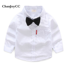 Brand ChanJoyCC Kids 2017 New Boy White Shirt With Tie Long Sleeve Children Cotton Shirt Student Pure White Show Shirt.(China)
