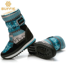 ski shoe waterproof high quality thick boots winter snow boots children and women  warm boots blue snowflake snow boots