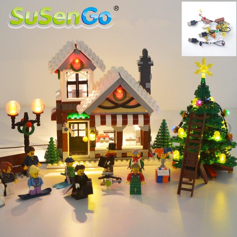 SuSenGo Led Light Kit For Creator The Winter Toy Shop 10249 Building Block Christmas Tree 39015 Light Set Excluding Model<br>