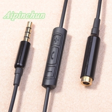 Aipinchun 3.5mm 4-Pole Jack Plug Audio Extension Cable Line Extender Cord With Mic Controller Male To Female For Earphone