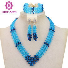 Popular Blue Crystal Wedding Jewelry Sets for Brides African Women Engagement Celebration Beads Jewelry Set Free Shipping QW756