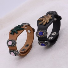 5Pcs Mixed colors Leather Bangle Pu Wacth Type Bracelet Pave Maple Leaf rhinestone fashion Party Gem jewelry Fashion 2415-5(China)