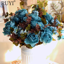 European artificial peony silk rose 7 heads with Water plants Fake Leaf for Wedding Home Party Decoration one bouquet