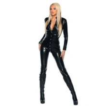 Buy Women Sexy PU Leather Catsuit Stretch Button Jumpsuit Fetish Latex Gothic Bodysuit Front Button Open Crotch Clubwear