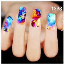 Bittb 2pcs Colorful Painting Design Water Transfer Nail Stickers Decal French Manicure DIY Foil Fingernail Tip Nail Art Sticker