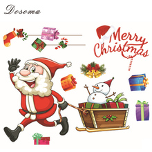 Merry Christmas Wall Sticker New Year's Eve Static Stickers Window Decorative Glass Door Santa Claus Removable Creative Poster