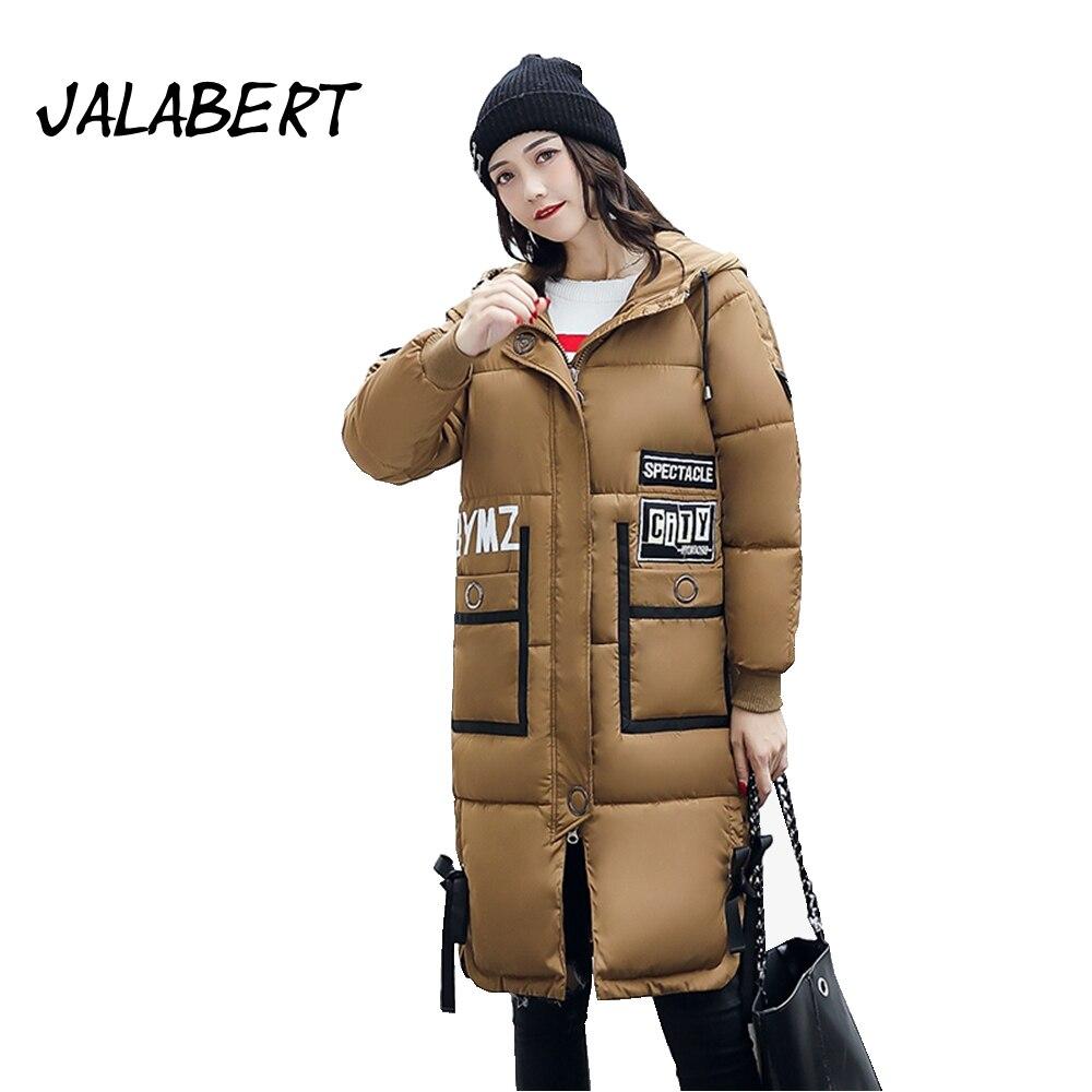 Jalabert Rushed Full Zipper 2017 Winter New Womens Cotton Jacket Female In The Long Section Slim Badges Coat Hooded Overdress Îäåæäà è àêñåññóàðû<br><br>