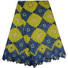 2017 Blue Color Latest African Cotton Swiss Voile Lace Fabric High Quality African Swiss Voile Lace In Switzerland