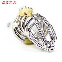 Buy QRTA Chastity Belt Steel Male Chastity Device Cock Cages Silicone Urethral Catheter Men's Virginity Lock Penis Ring Toys