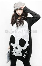 New Hot! 2017 Novelty Skull Crochet T Shirt Women Tops O-neck Long Sleeve Knitted Shirts Plus Size Women Clothing Casual Blusas